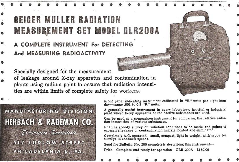 Herbach and Rademan - National Radiation Instrument Catalog