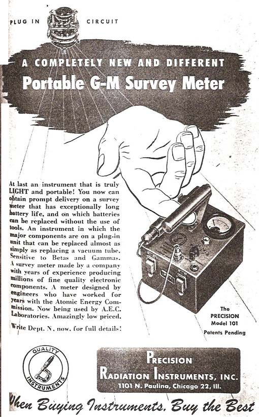 """It used 1.5, 45 and 300 volt batteries. The probe was mounted on the top of the instrument and had a 36"""" cable. It had a waterproof phone jack."""